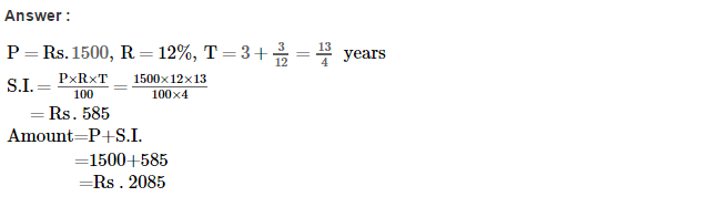 Simple Interest RS Aggarwal Class 7 Maths Solutions Exercise 12A